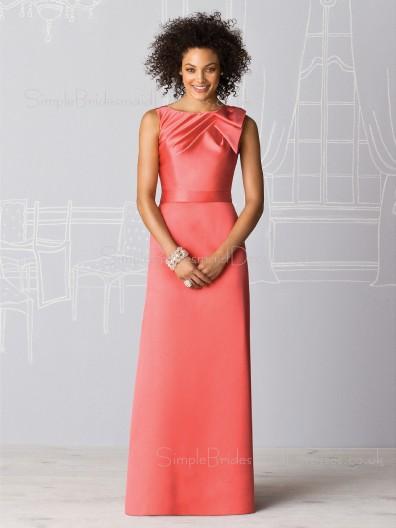 Natural Sleeveless Elastic-Satin Zipper Bateau Bridesmaid Dress