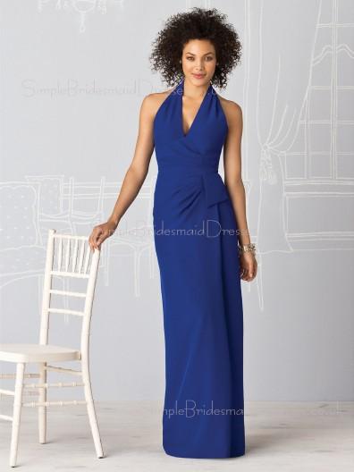 Backless Ruffles Empire Halter Floor-length Bridesmaid Dress