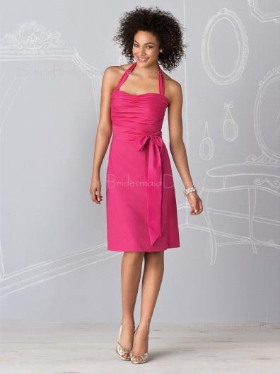 Fuchsia Taffeta Sheath Sleeveless Halter Bridesmaid Dress