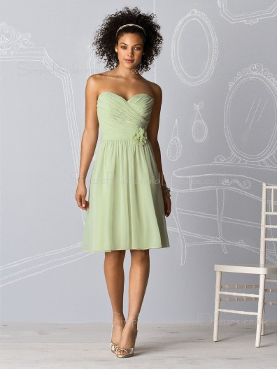 Draped/Flowers/Ruffles Knee-length Natural Chiffon A-line Bridesmaid Dress