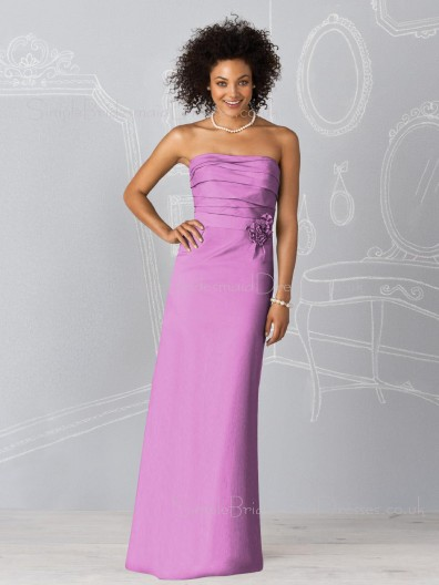 Zipper Sheath Flowers/Ruffles Sleeveless Chiffon Bridesmaid Dress