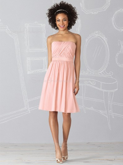 Strapless A-line Sleeveless Draped/Ruffles Zipper Bridesmaid Dress