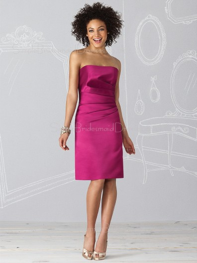 Strapless Zipper Natural Sheath Satin Bridesmaid Dress