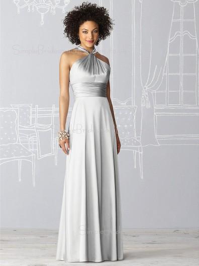 Floor-length Sleeveless Silver Natural Draped/Ruffles Bridesmaid Dress