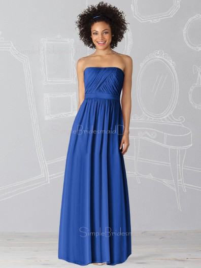 Sleeveless Royal-Blue Floor-length Chiffon Strapless Bridesmaid Dress