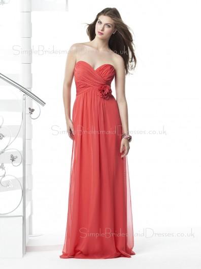 Red Strapless A-line Sleeveless Floor-length Bridesmaid Dress