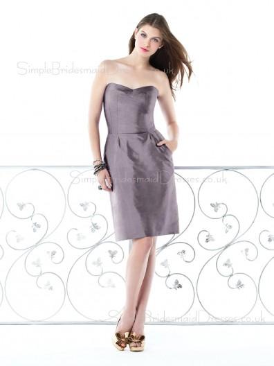 Natural Zipper Sweetheart Knee-length Ruffles Bridesmaid Dress