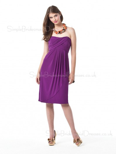 Strapless Sleeveless Chiffon Grape Draped/Ruffles Bridesmaid Dress