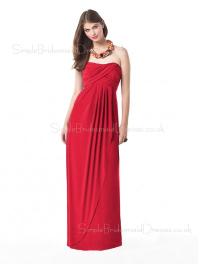 Zipper Red A-line Floor-length Strapless Bridesmaid Dress