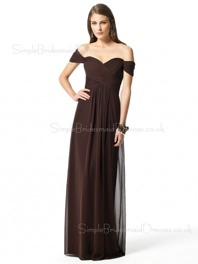 Floor-length Short-Sleeve Chocolate A-line Natural Bridesmaid Dress