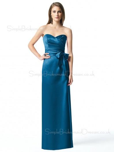 Sweetheart Sleeveless Floor-length Elastic-Satin Backless Bridesmaid Dress