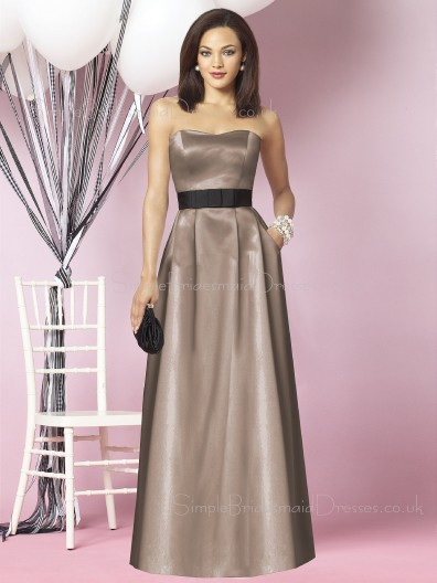 Zipper Brown Satin Floor-length A-line Bridesmaid Dress