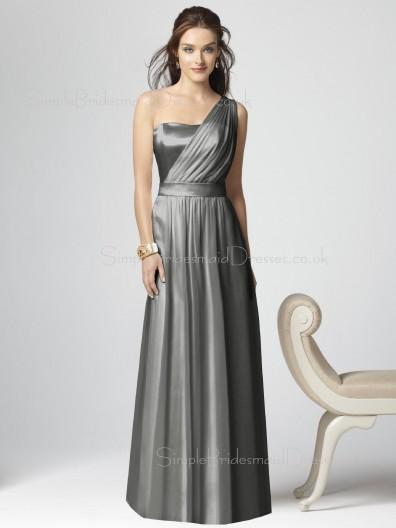 Silver Zipper Elastic-Satin Floor-length Draped/Ruffles Bridesmaid Dress