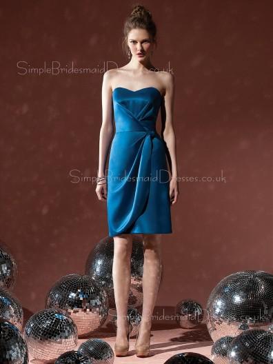 Sheath Ruffles Sweetheart Knee-length Blue Bridesmaid Dress