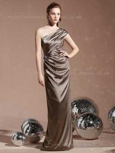 Ruffles Elastic-Satin Natural Sheath Floor-length Bridesmaid Dress
