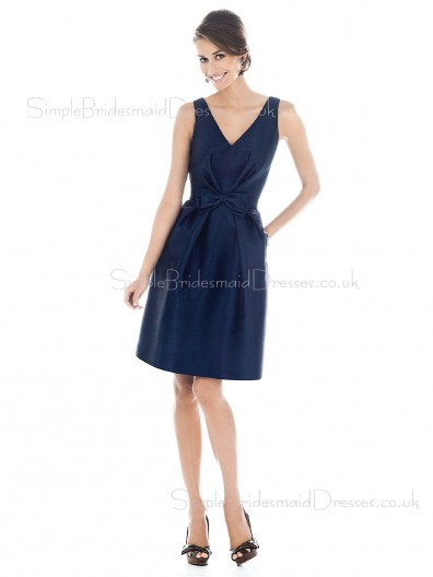 Natural Sleeveless Knee-length V-neck A-line Bridesmaid Dress
