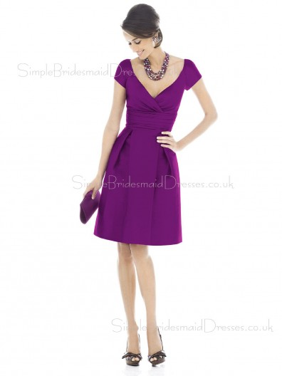 Natural Grape Ruffles Short-Sleeve V-neck Bridesmaid Dress