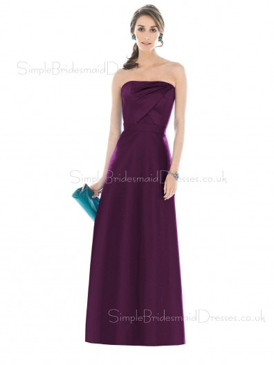 Natural Sleeveless Strapless Grape Backless Bridesmaid Dress