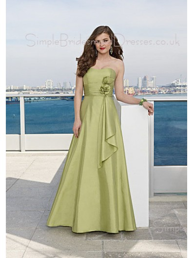 Zipper Strapless A-line Taffeta Floor-length Bridesmaid Dress