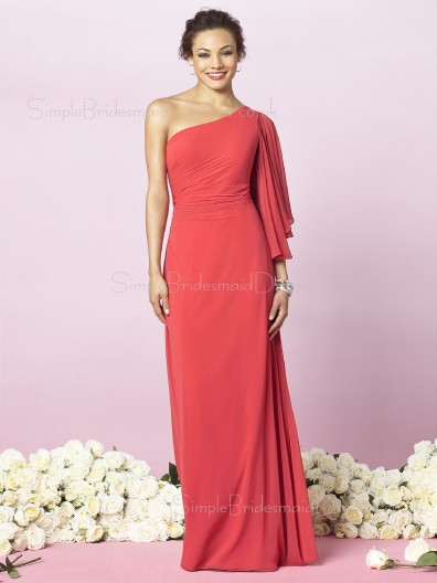 Red Zipper Empire Draped/Ruffles Floor-length Bridesmaid Dress