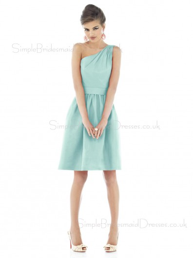 Zipper One-Shoulder Blue Ruffles Sleeveless Bridesmaid Dress
