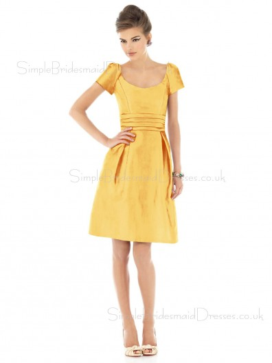Knee-length Taffeta Gold Ruffles Natural Bridesmaid Dress