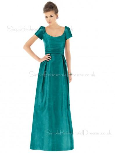 Taffeta A-line Ruffles Floor-length Bateau Bridesmaid Dress