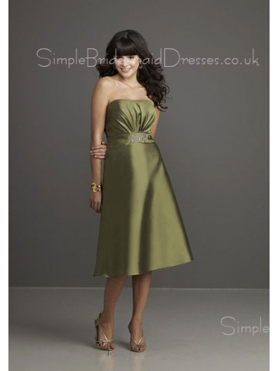 Ruffles Sleeveless Green Tea-length Backless Bridesmaid Dress