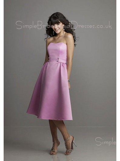 Lilac Natural Backless Tea-length Strapless Bridesmaid Dress