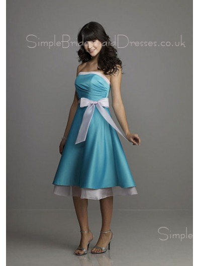 Bow/Draped/Ruffles/Sash Strapless Sleeveless Empire Zipper Bridesmaid Dress