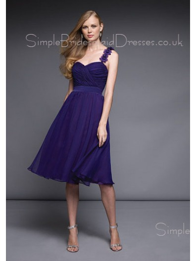 Zipper Chiffon A-line Royal-Blue One-Shoulder Bridesmaid Dress