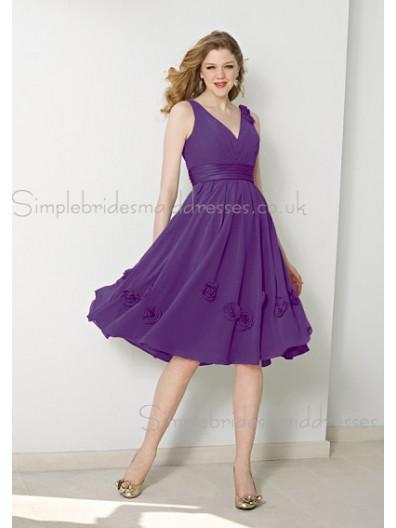 V-neck Chiffon Draped/Flowers/Ruffles Zipper Lilac Bridesmaid Dress