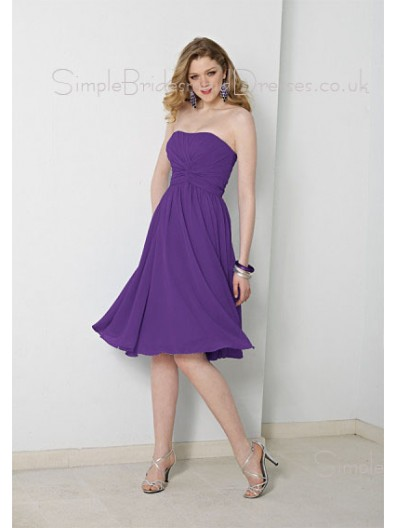 Knee-length Lilac Sleeveless Backless Draped/Ruffles Bridesmaid Dress