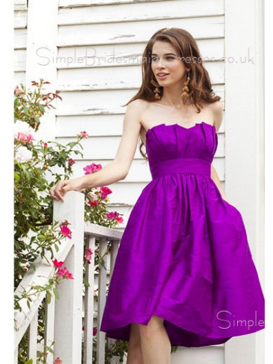 Knee-length Strapless Sleeveless Grape Backless Bridesmaid Dress