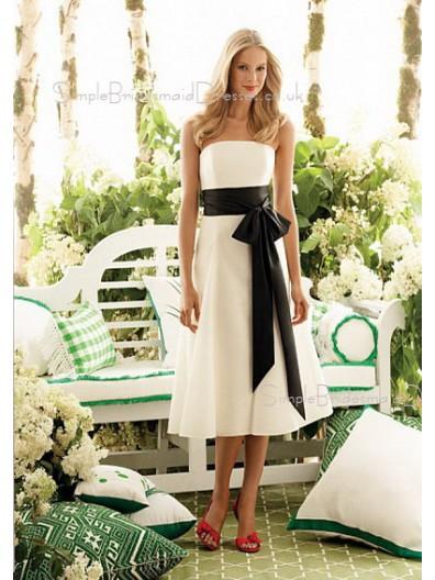 Empire Tea-length Chiffon White A-line Bridesmaid Dress