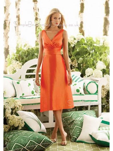 Orange A-line Taffeta V-neck Ruffles Bridesmaid Dress
