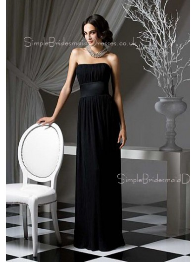 Sleeveless Strapless Black Floor-length Bridesmaid Dress