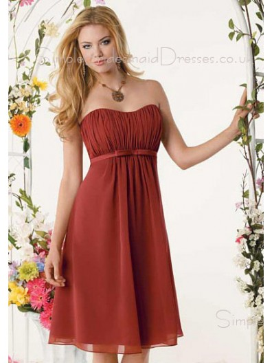 Empire A-line Draped/Ruffles Burgundy Sleeveless Bridesmaid Dress