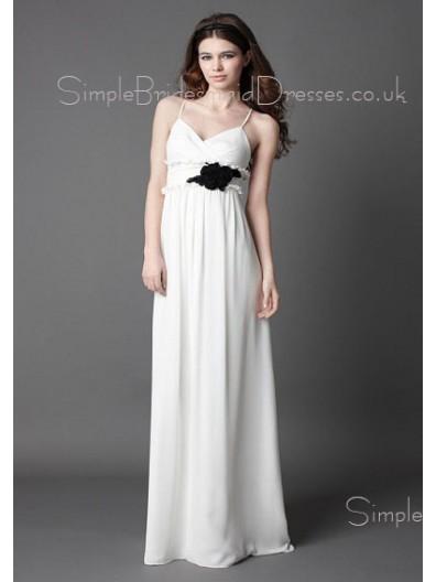A-line Empire Floor-length Chiffon Spaghetti-Straps Bridesmaid Dress
