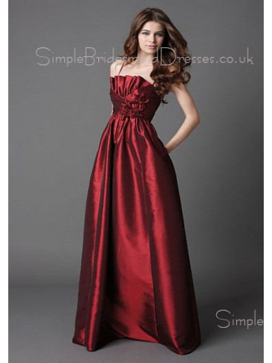 A-line Draped/Flowers/Ruffles Empire Zipper Satin Bridesmaid Dress