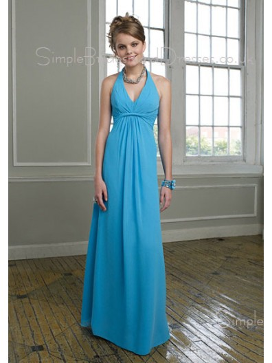 Blue Sleeveless Empire Floor-length Draped/Ruffles Bridesmaid Dress