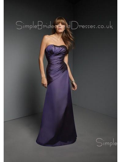 Floor-length Dark-Navy Strapless Ruffles Natural Bridesmaid Dress