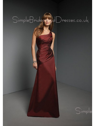 One-Shoulder Floor-length Natural Zipper A-line Bridesmaid Dress