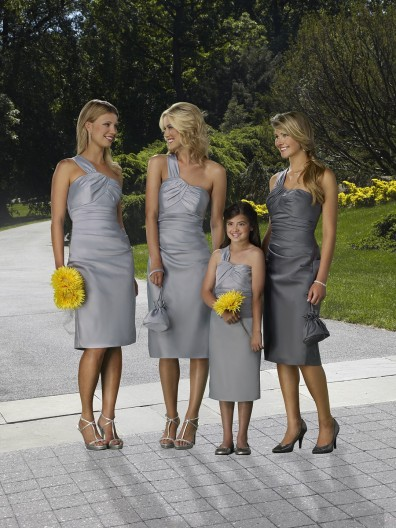 Zipper Tea-length Sheath One-Shoulder Satin Bridesmaid Dress