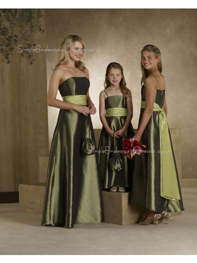 Ruffles/Sash Natural A-line Green Sleeveless Bridesmaid Dress