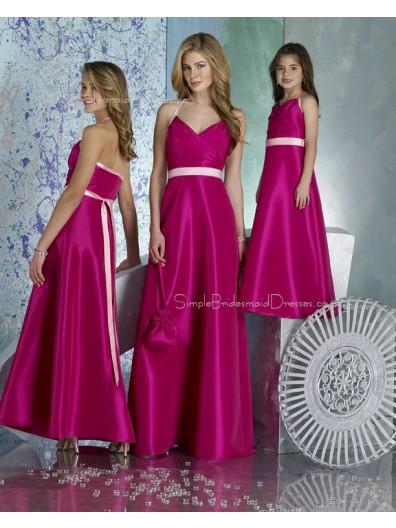 Fuchsia Zipper Satin Empire Sleeveless Bridesmaid Dress