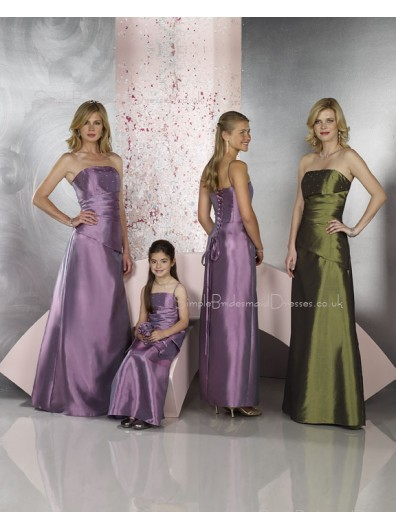 Floor-length Sleeveless A-line Satin Lilac Bridesmaid Dress