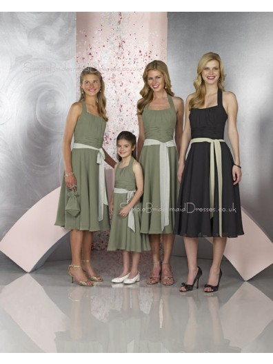 Natural Chiffon Sleeveless Black Tea-length Bridesmaid Dress