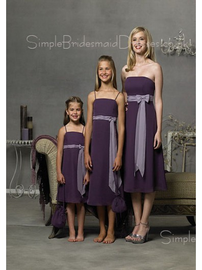 Tea-length Grape Chiffon Sash Natural Bridesmaid Dress