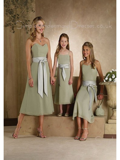 Natural Zipper Sage Chiffon Sweetheart Bridesmaid Dress